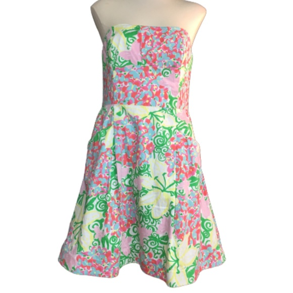 Lilly Pulitzer Strapless Blossom Dress Size 8